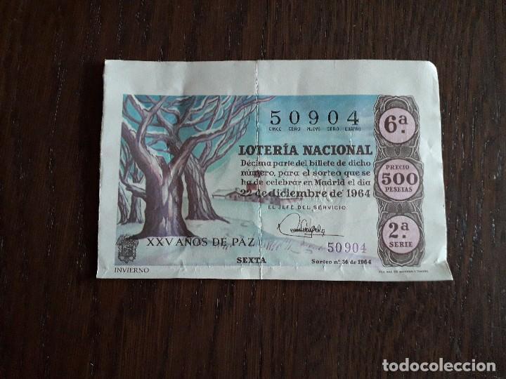 DÉCIMO LOTERÍA NACIONAL DE DIA 22-12-64, SORTEO DE NAVIDAD, INVIERNO. SORTEO 36/64 (Coleccionismo - Lotería Nacional)
