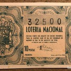 Lotería Nacional: DÉCIMO DE LOTERÍA DEL AÑO 1950, SORTEO N° 23 DEL 16 DE AGOSTO DE 1950.. Lote 264737844
