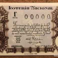 Lotería Nacional: DÉCIMO DE LOTERÍA DEL AÑO 1945 SORTEO N° 9 DEL 24 DE MARZO DE 1945. 00000 DE NUMERACIÓN.. Lote 264993904