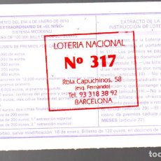 Loterie Nationale: LOTERÍA NACIONAL - ADMINISTRACIÓN Nº 317 DE BARCELONA - SORTEO 1/10 -. Lote 266542458