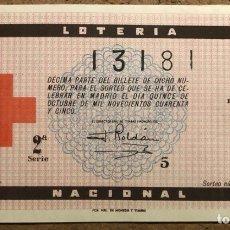 Lotería Nacional: DÉCIMO DE LOTERÍA DEL AÑO 1945 SORTEO N° 29 DEL 15/10/1945.. Lote 268284429