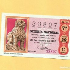 Loterie Nationale: LOTERIA NACIONAL 1967 SORTEO Nº 9 SERIE 1ª. Lote 268422984