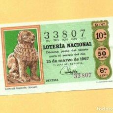 Loterie Nationale: LOTERIA NACIONAL 1967 SORTEO Nº 9 SERIE 6ª. Lote 268423579
