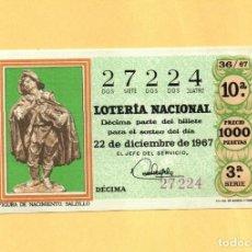 Loterie Nationale: LOTERIA NACIONAL 1967 SORTEO Nº 36 SERIE 3ª. Lote 268424599
