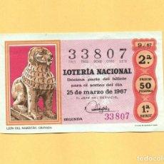 Lotería Nacional: LOTERIA NACIONAL 1967 SORTEO Nº 9 SERIE 1ª. Lote 269042338