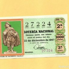 Lotería Nacional: LOTERIA NACIONAL 1967 SORTEO Nº 36 SERIE 3ª. Lote 269042753