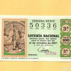 Lotería Nacional: LOTERIA NACIONAL 1967 SORTEO Nº 29 SERIE 3ª. Lote 269043343