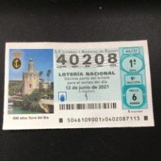 Lotería Nacional: DECIMO LOTERÍA 2021 SORTEO 46/21. Lote 269146698