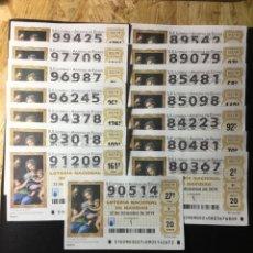 Lotería Nacional: LOTE 15 DECIMOS LOTERIA NUMEROS ALTOS. Lote 269149768