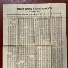 Lotería Nacional: LISTA DE LOTERÍA DE RESULTADOS PREMIADOS. FECHA 23 DICIEMBRE DE 1881. VER FOTOS. Lote 269196418