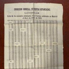 Lotería Nacional: LISTA DE LOTERÍA DE RESULTADOS PREMIADOS. FECHA 4 ABRIL DE 1882. VER FOTOS. Lote 269196533