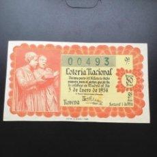 Lotería Nacional: DECIMO LOTERÍA 1956 SORTEO 1/56 GRAN FORMATO. Lote 269233928