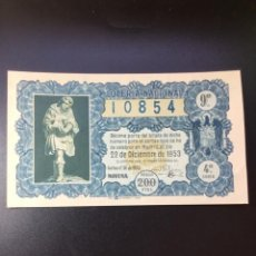 Lotería Nacional: DECIMO LOTERÍA 1953 SORTEO 36/53 GRAN FORMATO. Lote 269235023