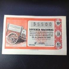 Lotería Nacional: DECIMO LOTERÍA 1961 SORTEO 18/61 GRAN FORMATO. Lote 269235138
