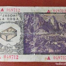 Lotería Nacional: BILLETE PROMOCIONAL CONCURSO ANTIGUO PUBLICIDAD JABON ROSA. Lote 269243073