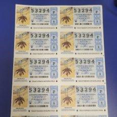 Lotería Nacional: LOTERIA NACIONAL SORTEO 40 DE 2011 BILLETE COMPLETO SABADO. Lote 269307533