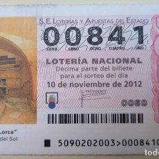 Lotería Nacional: LOTERÍA NACIONAL, SORTEO 90/12, NÚMERO 00841, BAJO. Lote 269438813