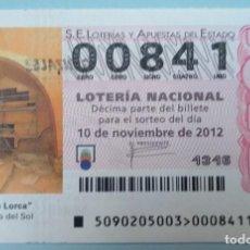 Lotería Nacional: LOTERÍA NACIONAL, SORTEO 90/12, NÚMERO 00841, BAJO. Lote 269438973