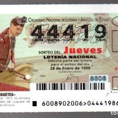 Lotería Nacional: LOT. NACIONAL - 28 DE ENERO DE 1999 - SORTEO 8 - JUGADOR DE BILLAR - ADMINIST. 206 DE BARÇA -. Lote 269831033