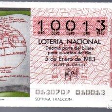 Lotería Nacional: LOT. NACIONAL - 5 DE ENERO DE 1983 - SORTEO 1 - PLANISFERIO DEL IMAGO MUNDI- ADMINIST. 8 DE CÁDIZ -. Lote 269831453