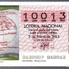 Lotería Nacional: LOT. NACIONAL - 5 DE ENERO DE 1983 - SORTEO 1 - PLANISFERIO DEL IMAGO MUNDI- ADMINIST. 8 DE CÁDIZ -. Lote 269831518