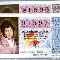 Lotería Nacional: LOT. NACIONAL - 25 DE ABRIL DE 1981 - SORTEO 16 - MAIQUEZ - ADMINIST. Nº 8 DE CÁDIZ -. Lote 269831888