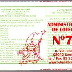 Lotería Nacional: LOT. NACIONAL - ADMINIST. Nº 77 DE BARCELONA - 6/FEBRERO/10 - SORTEO 10 - NÚMERO 45913 -. Lote 269832538