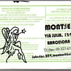 Lotería Nacional: LOT. NACIONAL - ADMINIST. Nº 284 DE BARCELONA - 6/FEBRERO/10 - SORTEO 10 - NÚMERO 29414 -. Lote 269832893