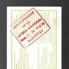 Lotería Nacional: LOT. NACIONAL - ADMINIST. DE ALCARRÁS (LLEIDA) - 6/DICIEMBRE/97 - SORTEO 98 - NÚMERO 56834 -. Lote 269833428
