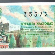 Lotería Nacional: LOT. NACIONAL - 5 DE ENERO DE 1962 - SORTEO 1 - PALACIO NACIONAL DE MADRID -. Lote 269834083