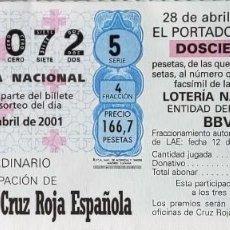 Lotería Nacional: LOTERIA DE CRUZ ROJA - PARTICIPACION DEL SORTEO DEL 28 ABRIL 2001. Lote 269834943