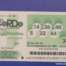 Lotaria Nacional: LOTERIA EL GORDO DE LA PRIMITIVA SORTEO 9 DE 1994. Lote 270178433