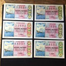 Lotería Nacional: LOTE 6 DECIMOS LOTERIA 1970 CRUZ ROJA (TODAS LAS SERIES). Lote 271559638