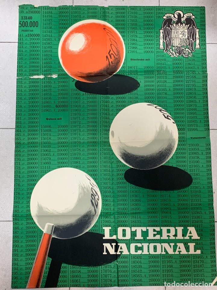 CARTEL LOTERIA NACIONAL BILLAR TRES BOLAS 100X69CMS (Coleccionismo - Lotería Nacional)