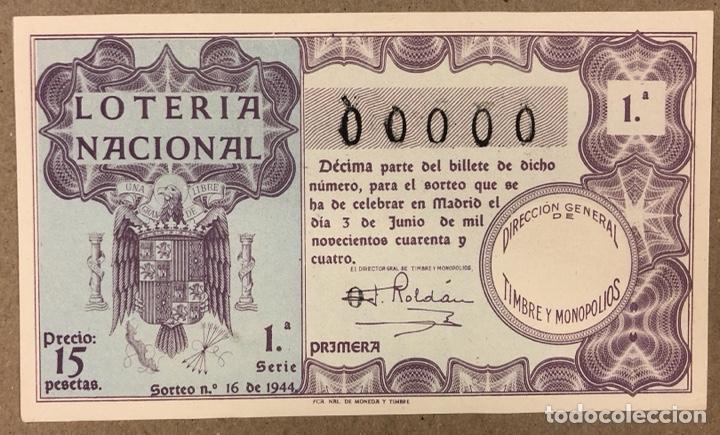 DÉCIMO DE LOTERÍA DEL AÑO 1944 CON NÚMERO 00000 SORTEO N° 19 DEL 3/7/1944. (Coleccionismo - Lotería Nacional)