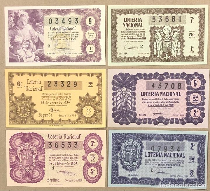 Lotería Nacional: LOTERÍA AÑO 1959 36 DÉCIMOS, TODOS LOS SORTEOS (AÑO COMPLETO). - Foto 2 - 275103323