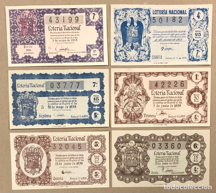 Lotería Nacional: LOTERÍA AÑO 1959 36 DÉCIMOS, TODOS LOS SORTEOS (AÑO COMPLETO). - Foto 6 - 275103323