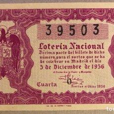 Lotería Nacional: DÉCIMO DE LOTERÍA DEL AÑO 1956 SORTEO N° 34 DEL 5/12/1956.. Lote 275968233