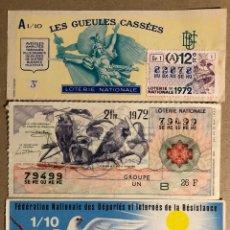 Lotaria Nacional: LOTE DE 3!BILLETES DE LOTERÍA DE FRANCIA DEL AÑO 1972.. Lote 276223313