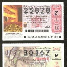 Lotería Nacional: GRAN LOTE DE 5OO DÉCIMOS DE LOTERÍA AÑO 2005. Lote 276282573