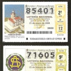 Lotería Nacional: GRAN LOTE DE 4OO DÉCIMOS DE LOTERÍA AÑO 2006. Lote 276353728