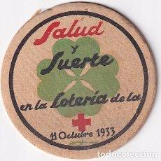 Lotaria Nacional: POSAVASOS SALUD Y SUERTE EN LA LOTERIA DE LA CRUZ ROJA 11 OCTUBRE 1933. Lote 276676933