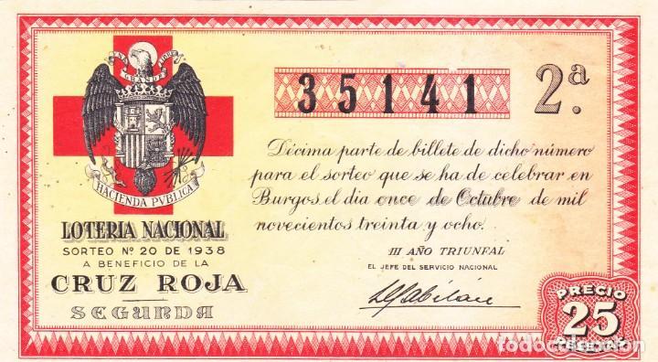 SORTEO 20 DE 1938 DE BURGOS CRUZ ROJA. (Coleccionismo - Lotería Nacional)