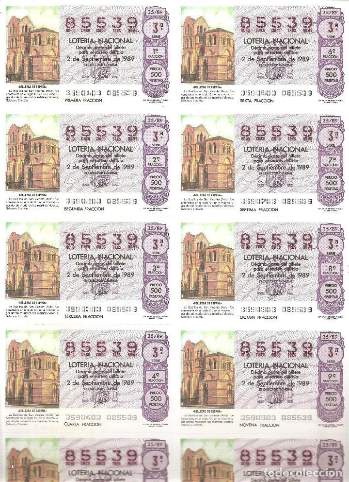 BILLETE LOTERÍA Nº 35 AÑO 1989 (Coleccionismo - Lotería Nacional)