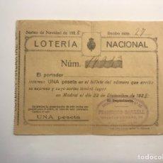 Lotería Nacional: LOTERÍA NACIONAL VALENCIA, PARTICIPACIÓN DE 1 PESETA (A.1928). Lote 277286053