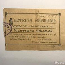 Lotería Nacional: LOTERÍA NACIONAL ALBACETE, PARTICIPACIÓN DE 1 PESETA (A.1928). Lote 277286583