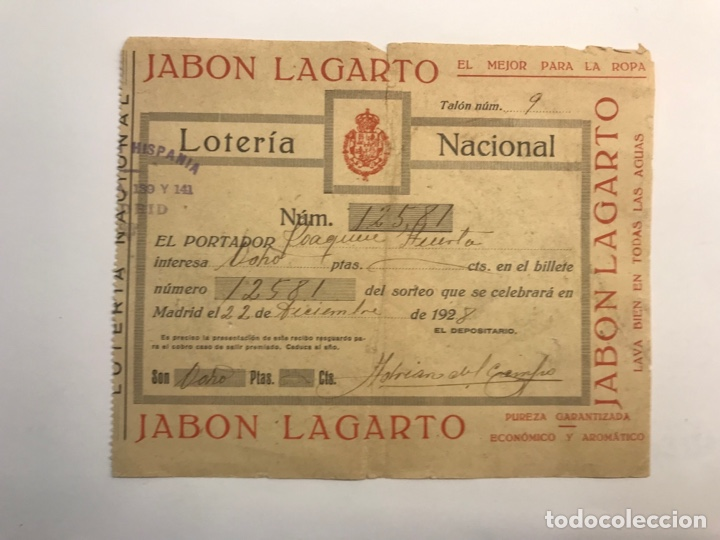 LOTERÍA NACIONAL MADRID, PARTICIPACIÓN DE 8 PESETAS (A.1928) PUBLICIDAD JABÓN LAGARTO (Coleccionismo - Lotería Nacional)