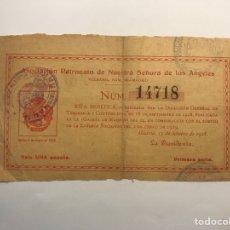 Lotería Nacional: RIFA BENEFICA, ASOCIACIÓN PATRONATO DE NTRA SRA DE LOS ÁNGELES, MADRID (A.1929). Lote 277287468