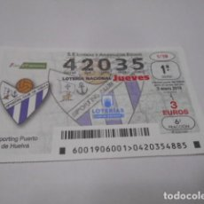 Lotería Nacional: DECIMO LOTERIA JUEVES Nº 42035- LIGA IBERDROLA FEMENINA -SORTEO 3 ENERO 2019- 1/19- SPORTING PUER. Lote 278976508