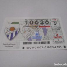 Lotería Nacional: DECIMO LOTERIA JUEVES Nº 10626- LIGA IBERDROLA FEMENINA -SORTEO 3 ENERO 2019- 1/19- SPORTING PUER. Lote 278977503